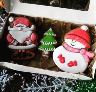 пряники на новый год Дед Мороз и снеговик