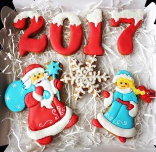 пряники на новый год Дед Мороз и Снегурочка
