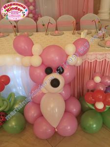фигура из шаров розовый мишка