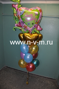 букет из фольгированных и резиновых шаров с гелием
