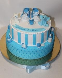 детский торт на 1 годик с пинетками