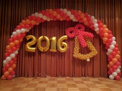 оформление шарами выпускной в школе