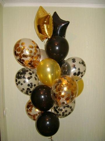 сет из золотых и черных шаров