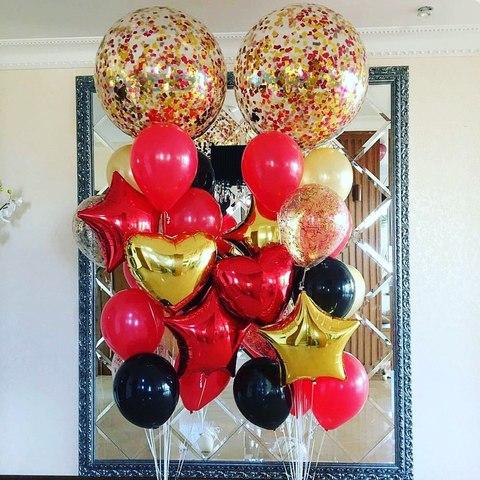 шар гигант с золотым и красным конфетти