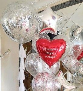 шар с перьями и сердцем