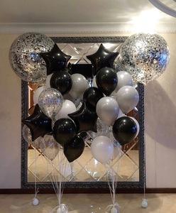 Шар гигант с черными и серебрянными шарами