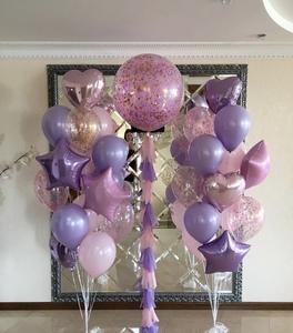 Шар гигант с розовым конфетти на ленте тассел