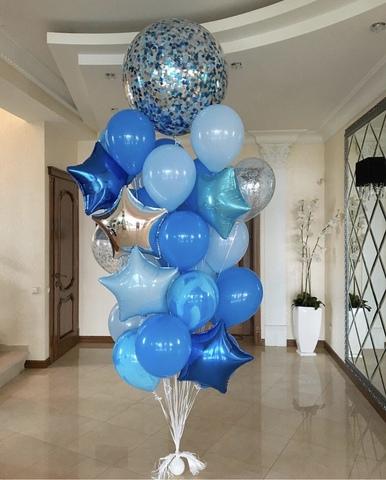 шар гигант с синими и голубыми шарами