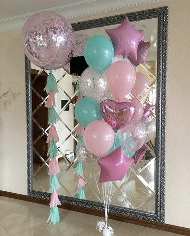 гигант с розовыми и бирюзовыми шарами