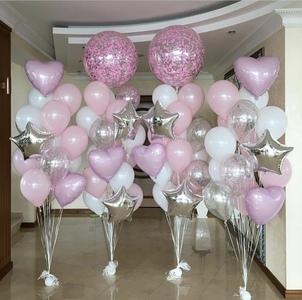 шар гигант с розовыми и серебряными шарами