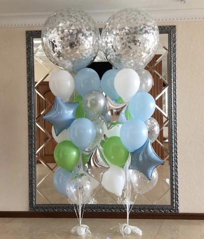 шары гиганты с добавлением голубых и зеленых шаров