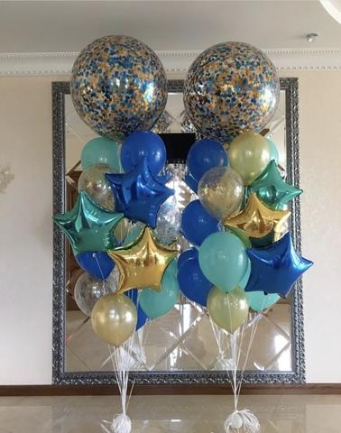 шары гиганты с синими бирюзовыми и золотыми шарами
