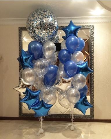 шар гигантс синими и серябряными шарами