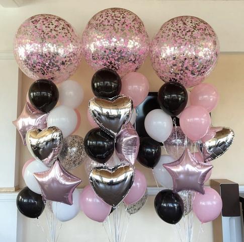 Розовые шары гиганты с черными и белыми шариками