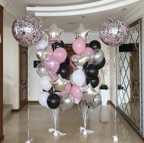 шары гиганты с розовыми черными и белыми шариками