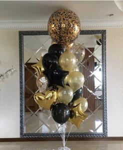 шар гигант с черными и золотыми шарами