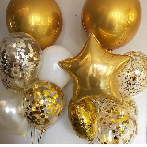 шар сфера с золотыми шариками