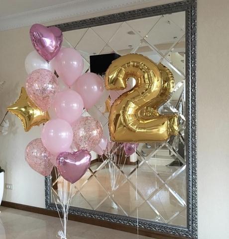 Розовые, золотые шарики и золотая цифра