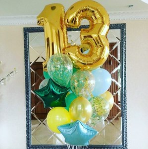 золотые цифры с зелеными, желтыми, голубыми  шариками