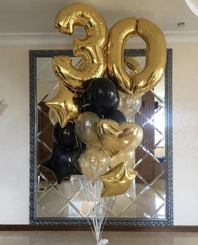 золотые цифры с золотыми и черными шариками