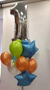 еденичка с голубыми и оранжевыми шариками