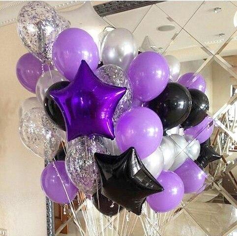 фиолетовые и черные звезды с шарами конфетти