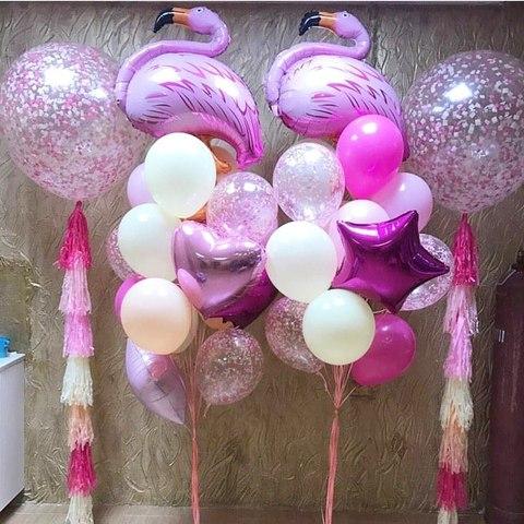 шары гиганты и розовый фламинго