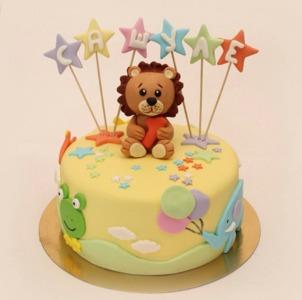 торт львенок со звездами