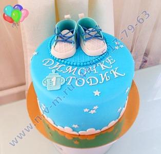 голубой тортик на годик