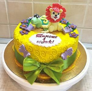 торт на годик с львенком