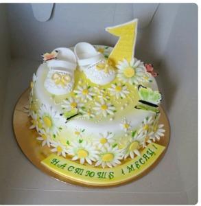 торт на годик желтенький