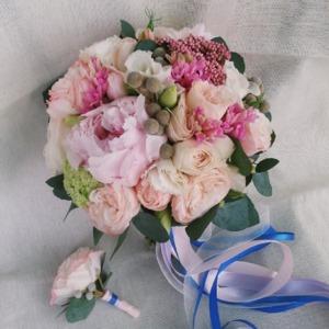 Букет невесты нежно - розовый
