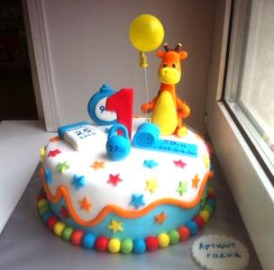 Детский торт с жирафом №2