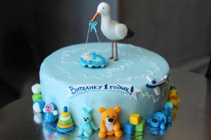 Детский торт с аистом