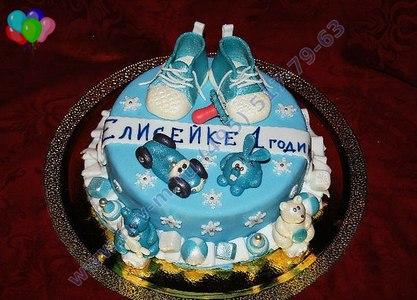 торт на годик голубой