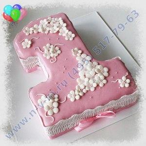 торт на годик розовый